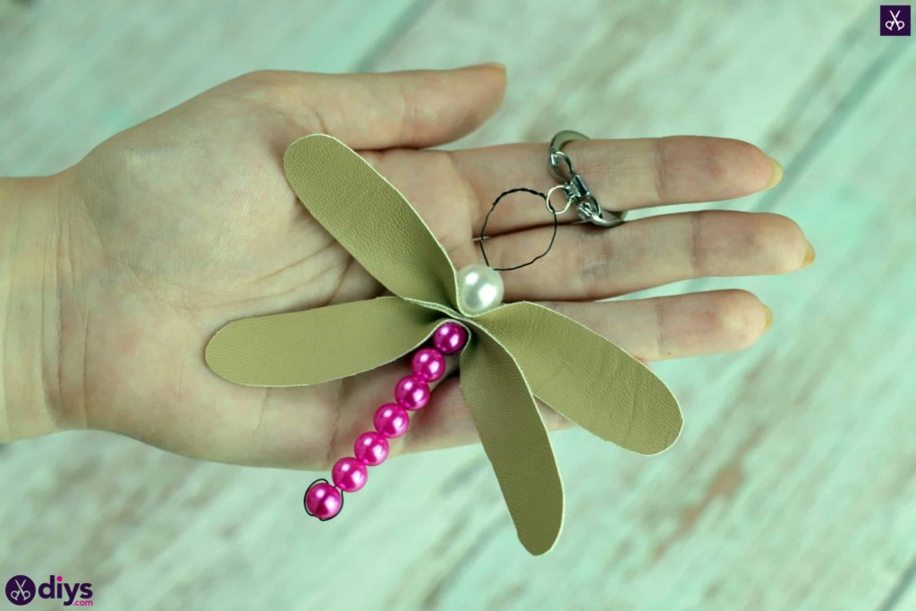 Pearl dragonfly keychain beautiful