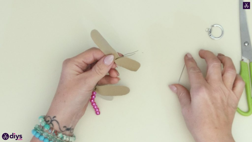 Pearl dragonfly keychain step 4a