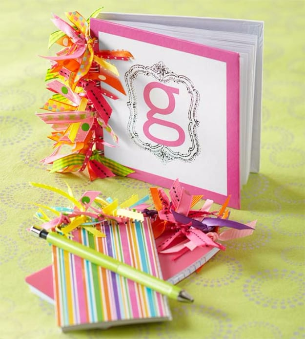 Ribbon embellished notebooks