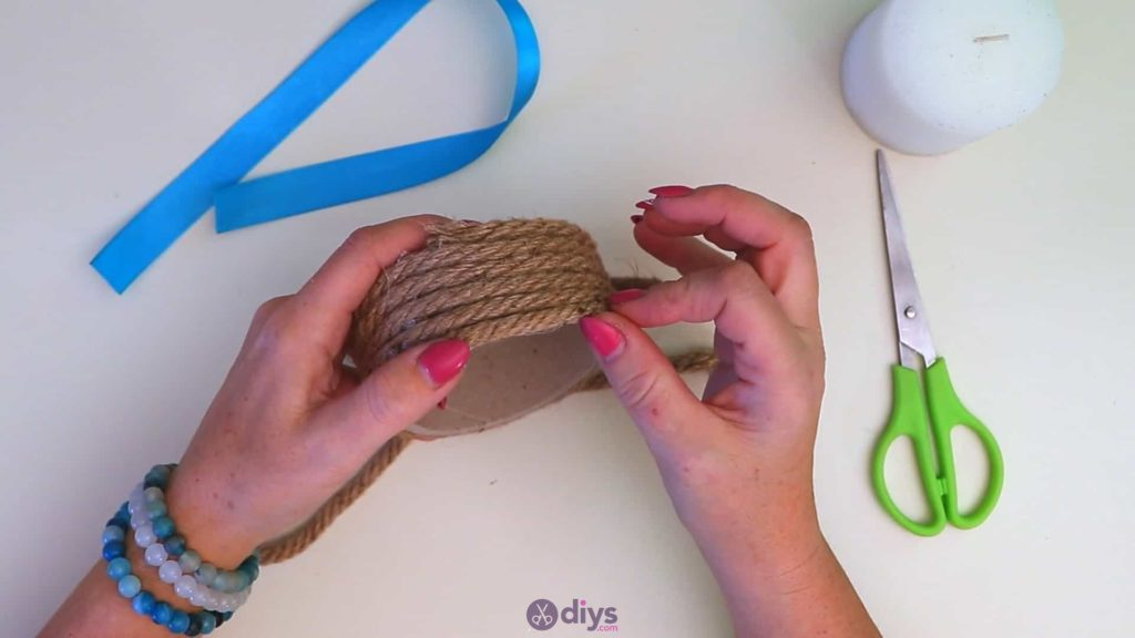 Rope wrapped candle holder step 3j