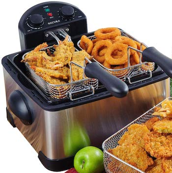 Secura stainless steel triple basket electric deep fryer with a timer