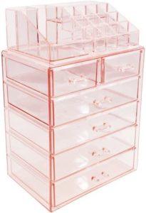 Sorbus pink acrylic makeup organizer