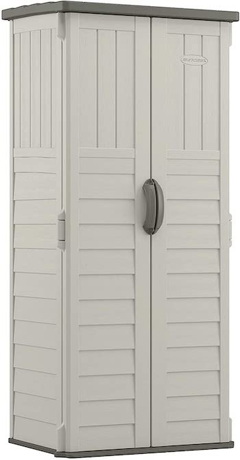 Suncast vertical, space efficient outdoor storage shed