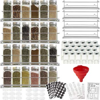 Talented kitchen 4 rack spice rack set with 24 jars