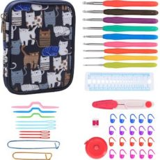 Teamoy crochet hook set, kit, and cat case