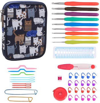 Teamoy crochet hooks set, kit, and cat case