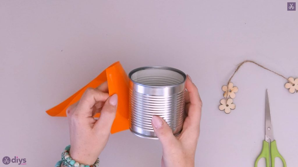 Tin can container with wooden flowers step 3a