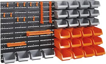 Vonhaus 44 piece wall mounted pegboard with hooks and stoage bins