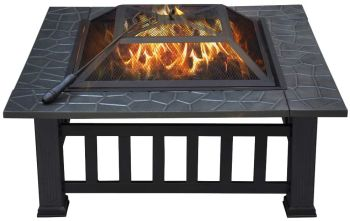 Yaheetech 32in outdoor metal firepit square table backyar