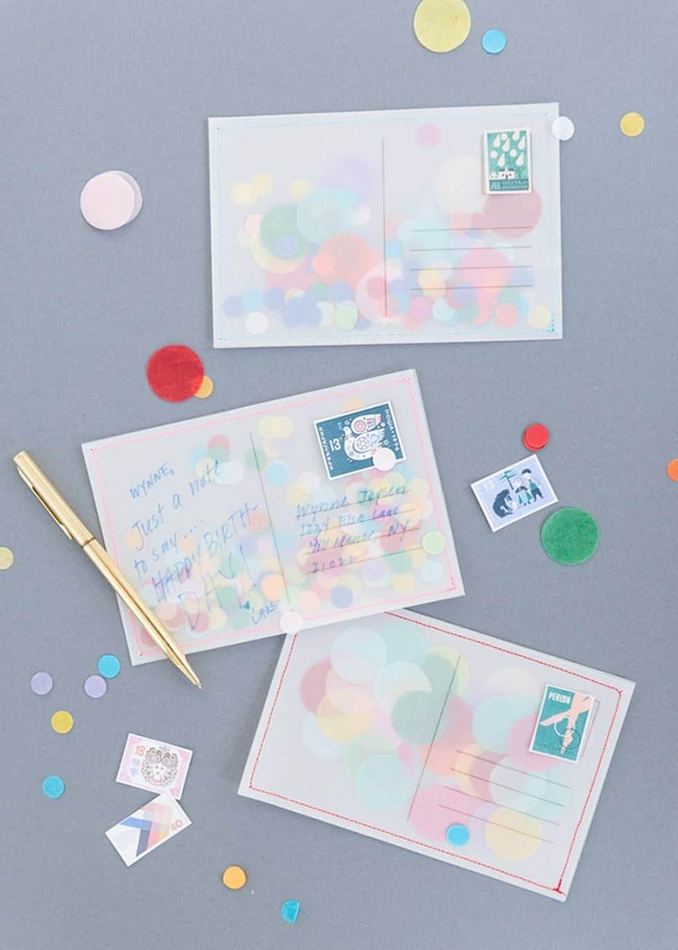 Diy confetti postcards