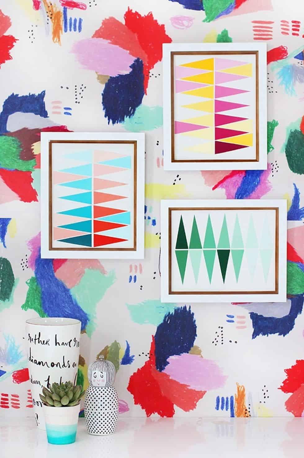 Diy geo paint chip wall art