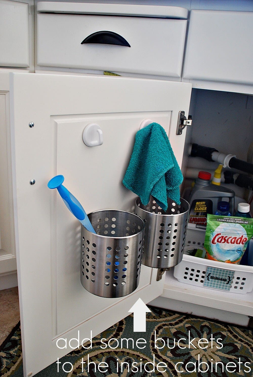 Metal buckets to organizer