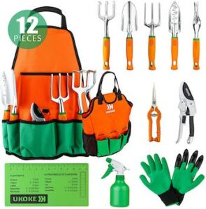 12 piece aluminum hand tool kit with apron and tote