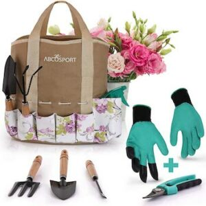 9 piece gardening kit with easy carry tote bag