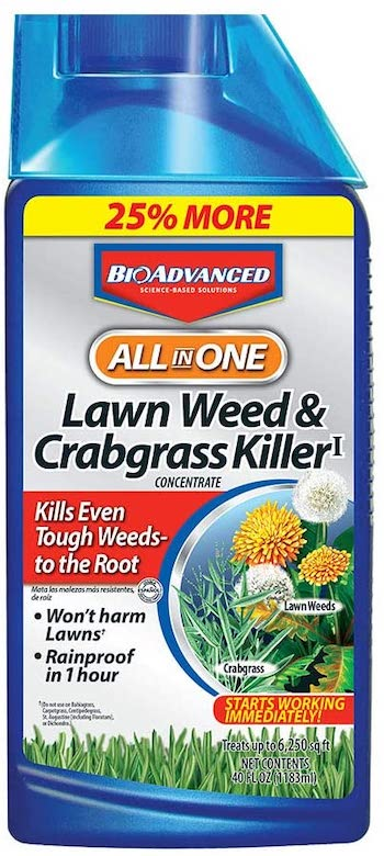 All in one lawn wed and crabgrass killer garden herbicide