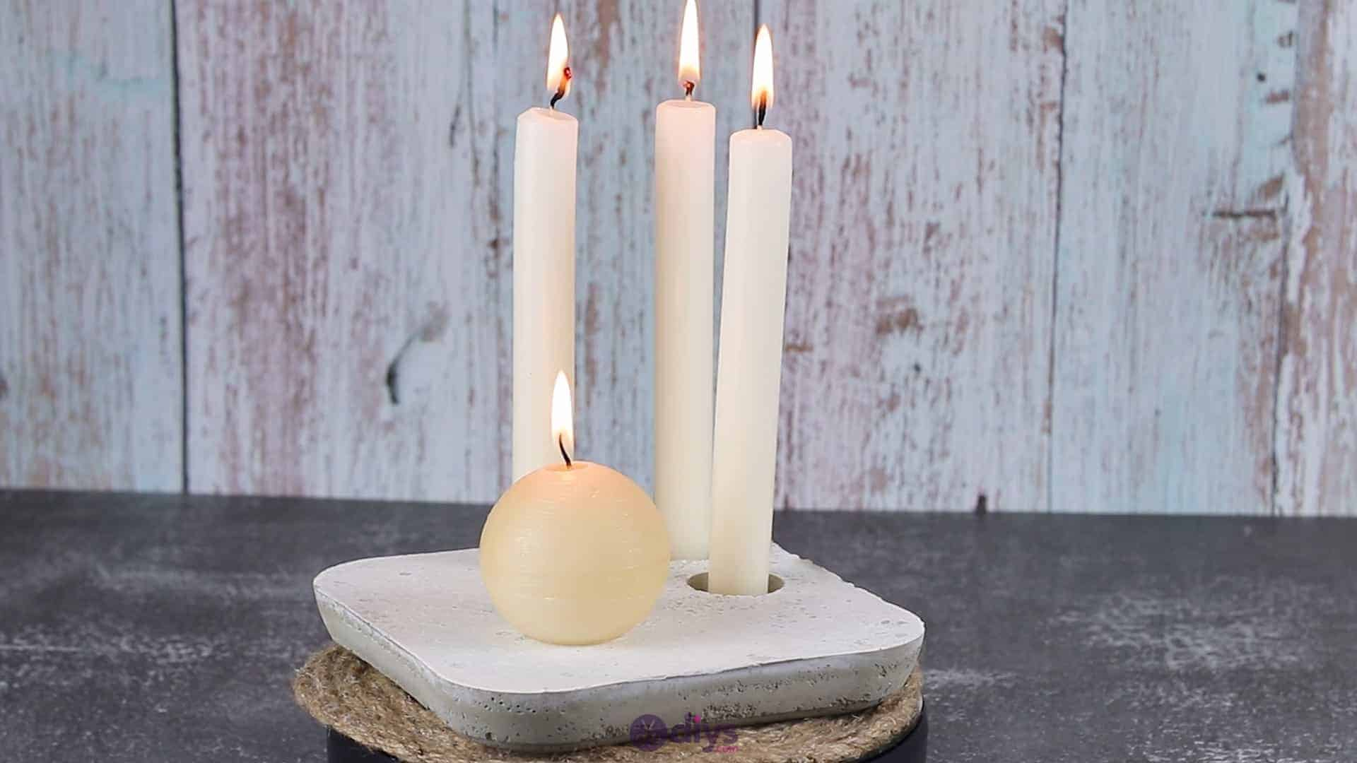 Diy concrete candle holder plate