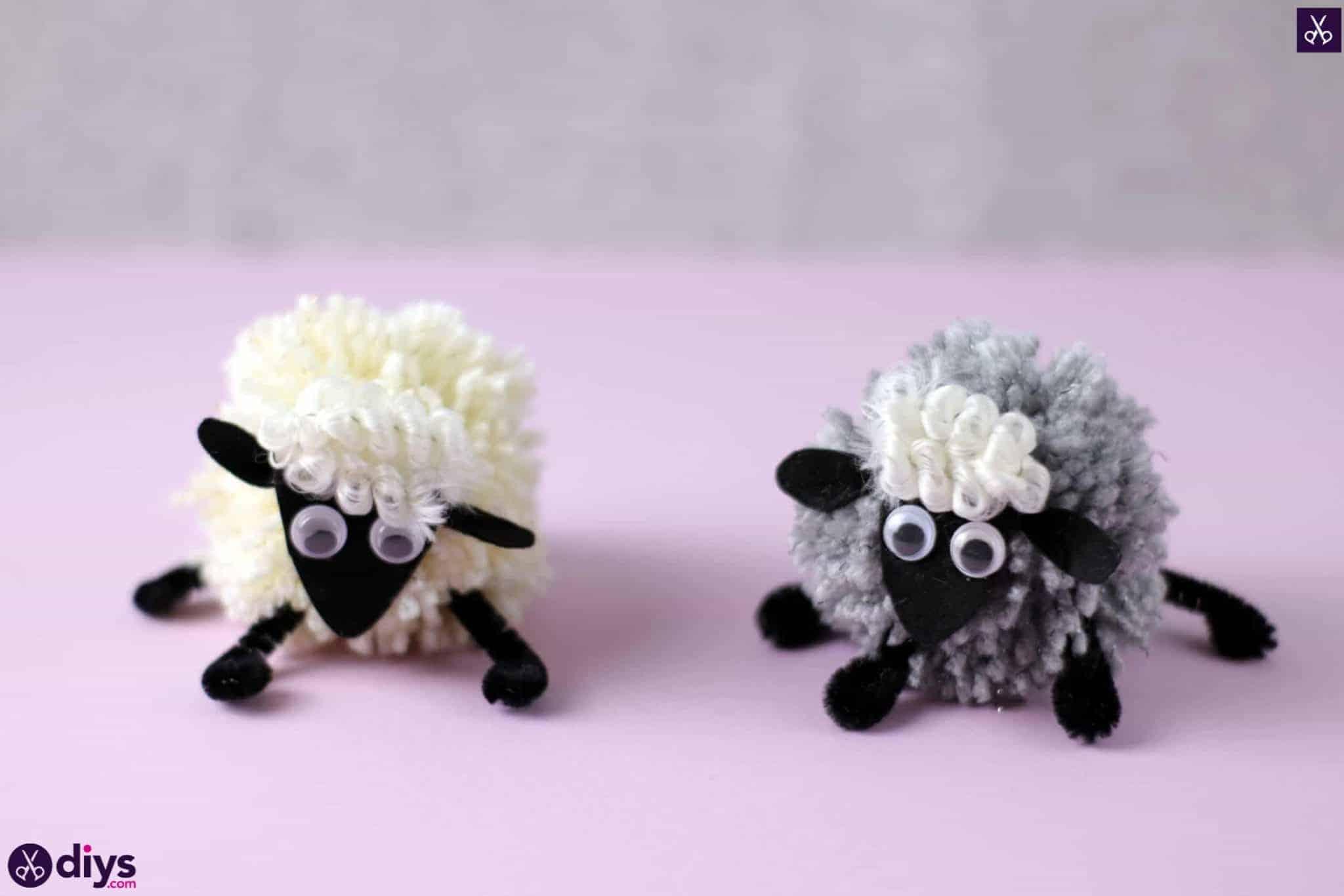 Diy funny pom pom sheep for kids craft