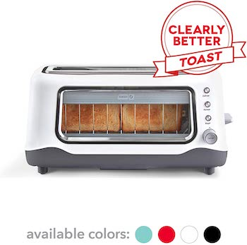 Dash clear view extra wide slot toaster with window