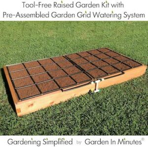 Expandable, tool free raised garden bed with irrigation