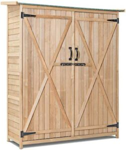 Fir wood cabinet style garden shed