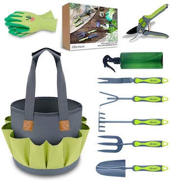 Fully stocked outdoor gardening set with rounded bag