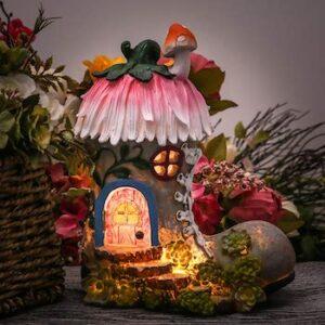 Garden statues fairy house