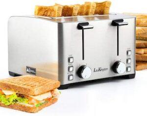 LauKingdom 4-slice independent control toaster