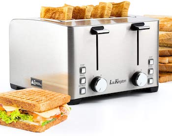 Laukingdom 4 slice independent control toaster