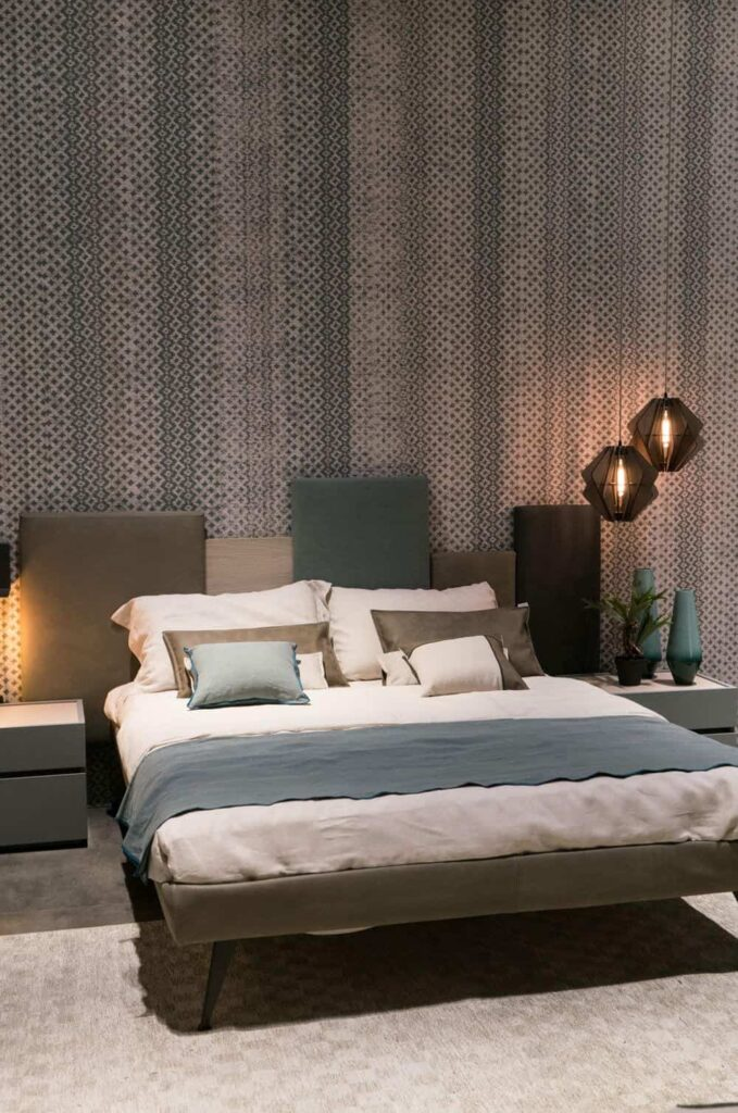 Modern bedroom decor with hanging lamps