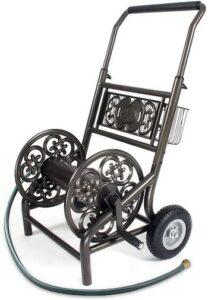 Never flat two wheel decorative garden hose reel cart