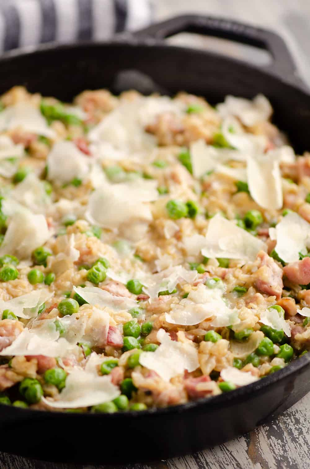 One pot cheesy ham rice skillet