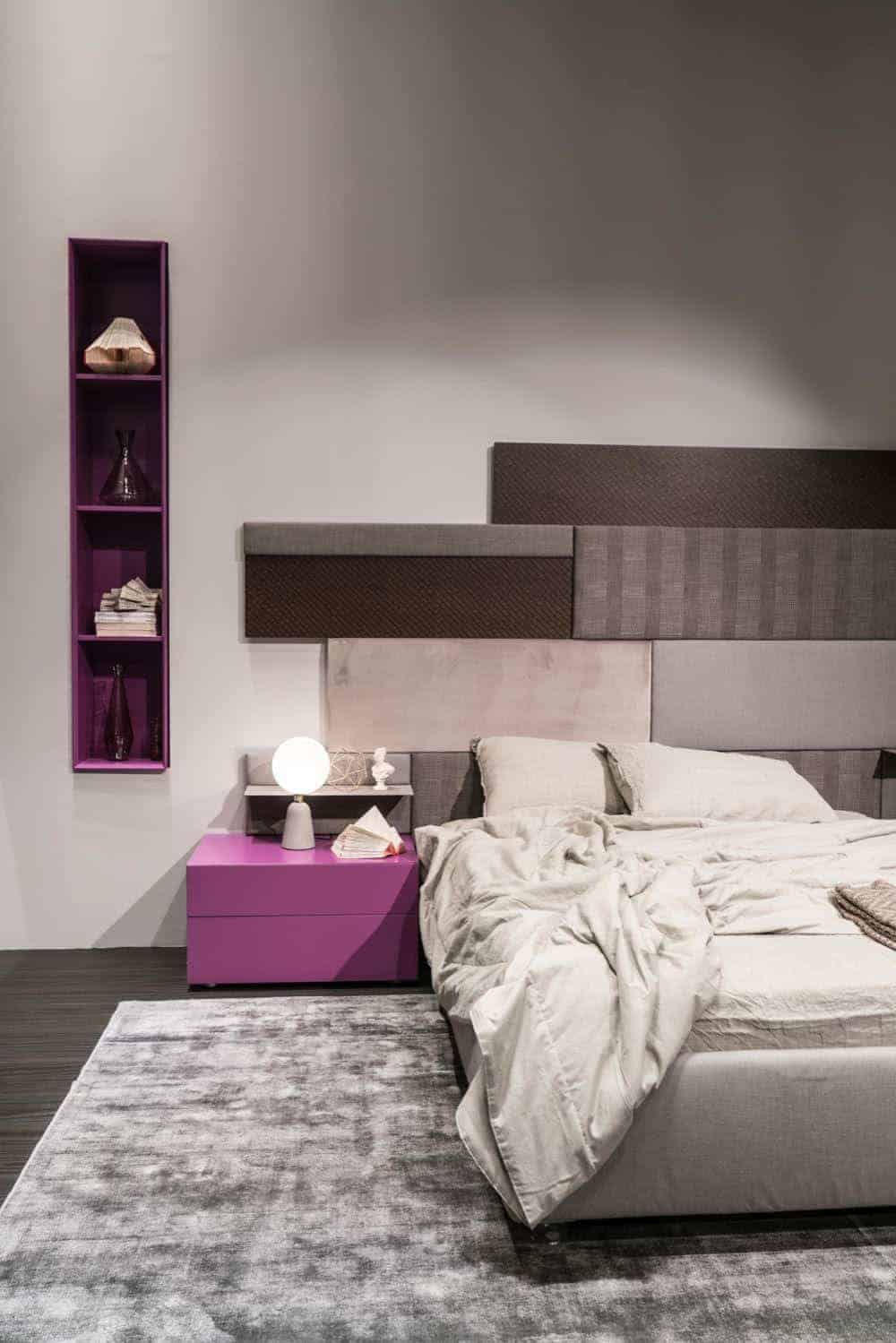 Pink modern nighstands and wall storage