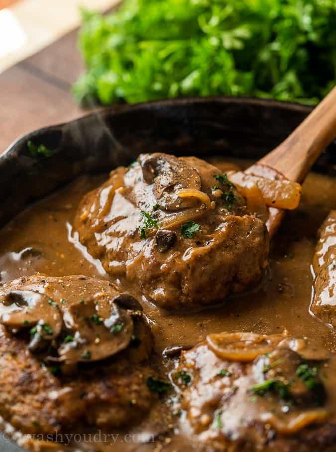 Salisbury steaks mushroom gravy