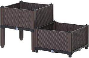 Set of 2 plastic raised garden beds
