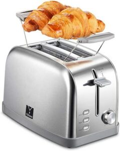 Yabano 2-slice toaster with top warming rack