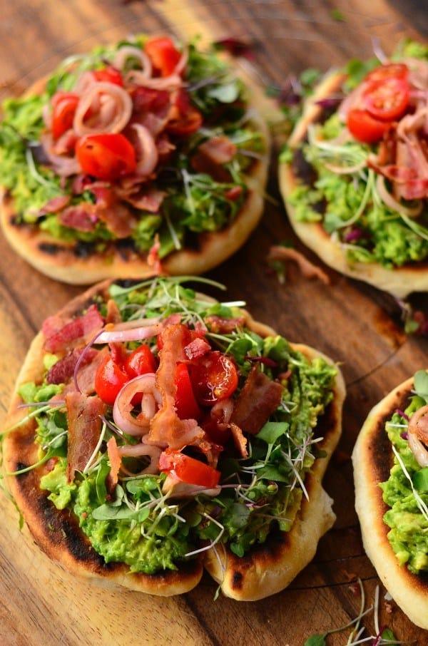 Bacon avocado griddle pizzas