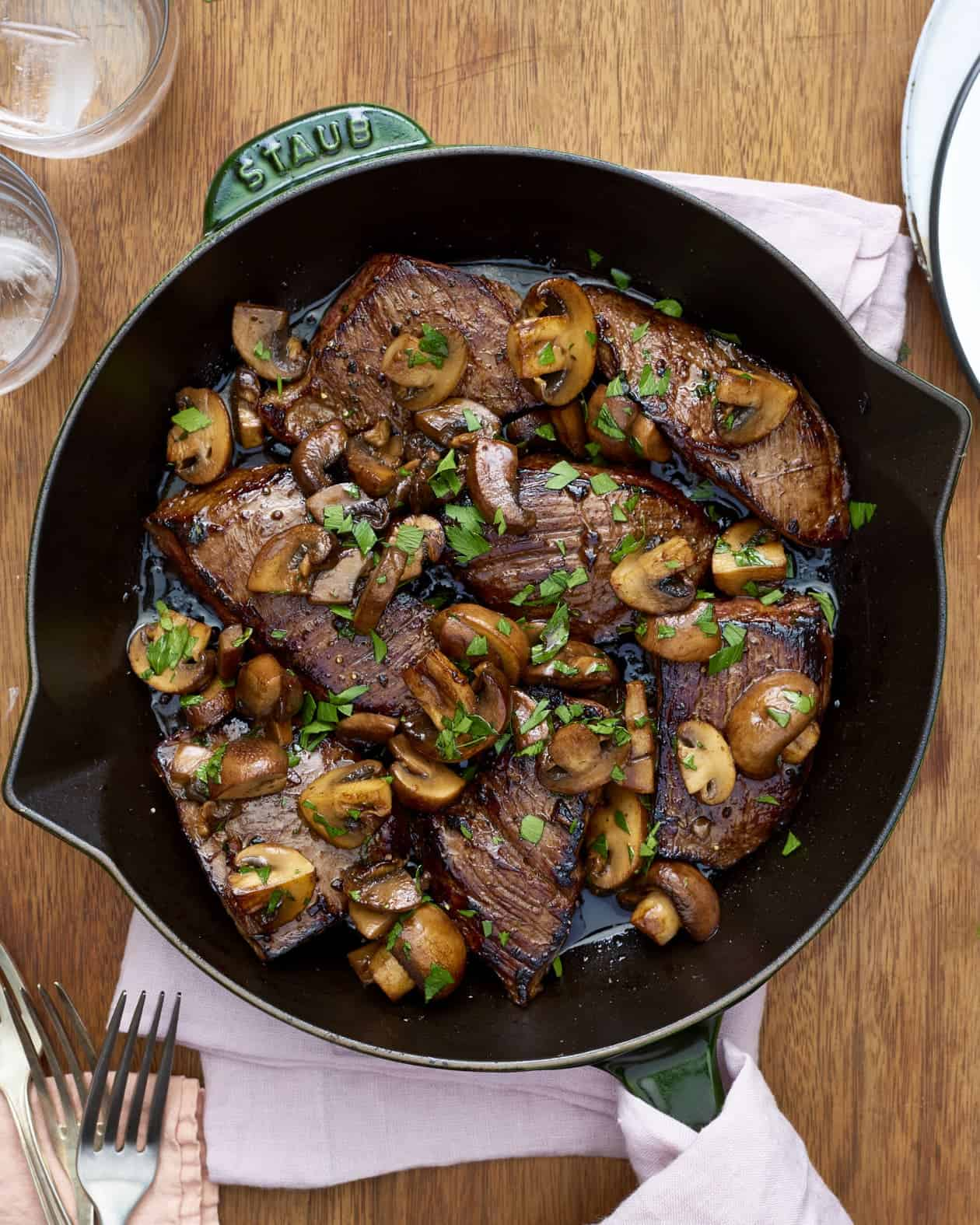 Balsamic glazed steak tips and mushrooms