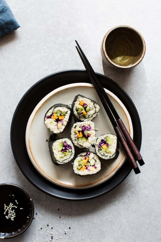 Caulifower rice and sushi bowl