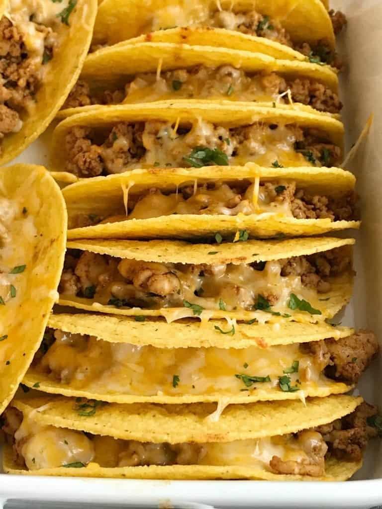 Crispy ground chicken tacos