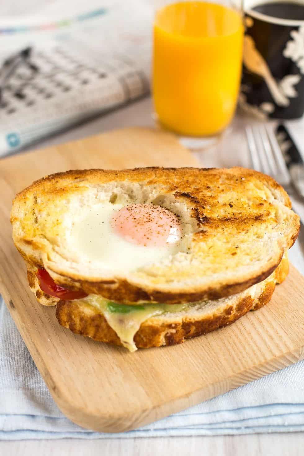 Egg in a hole breakfast sandwich
