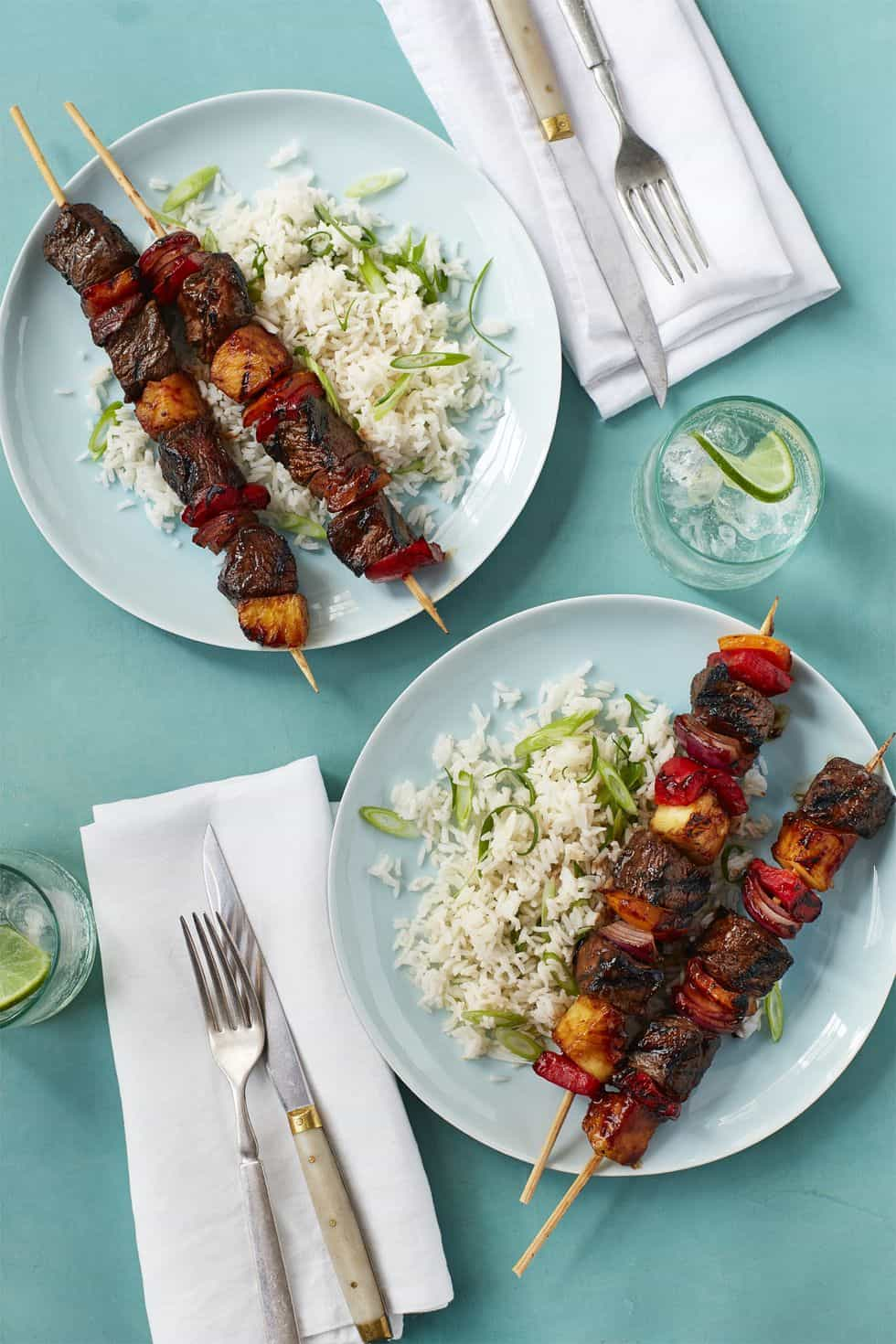 Hawaiian steak kebabs with scallion rice 0617