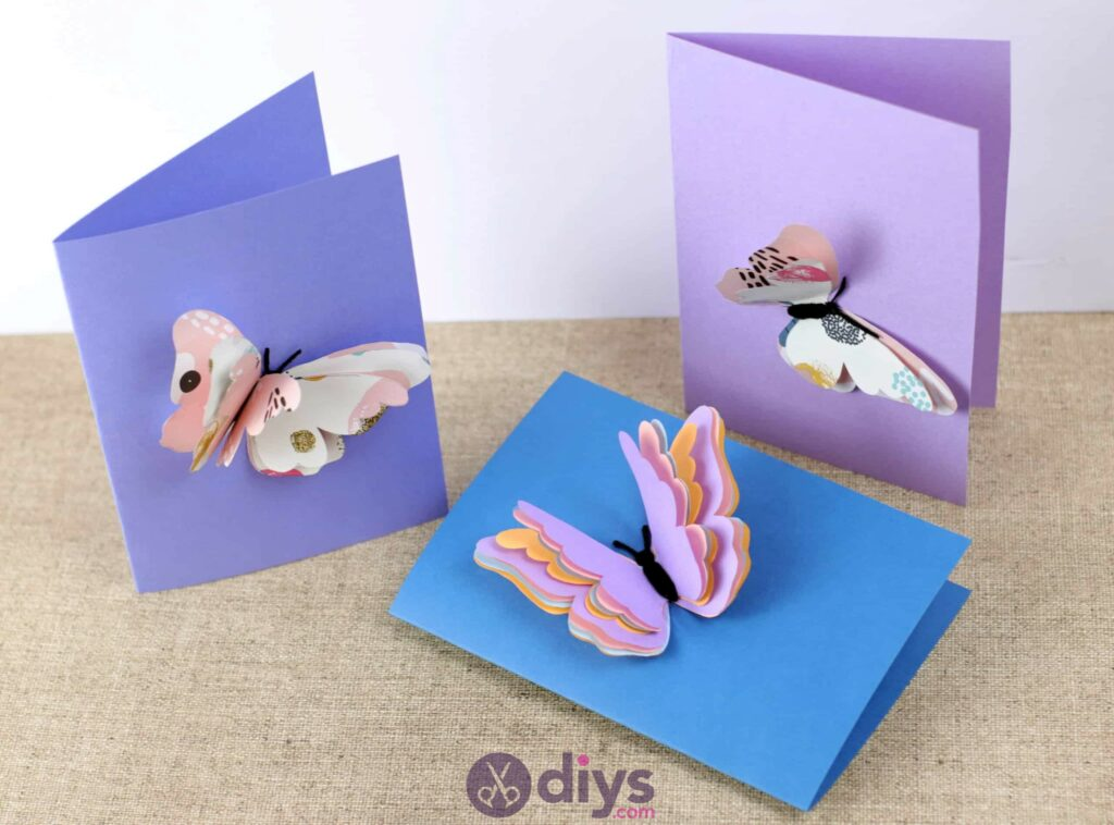 3d paper butterfly card colorful