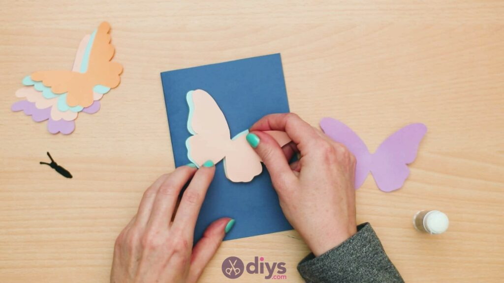 3d paper butterfly card step 5f