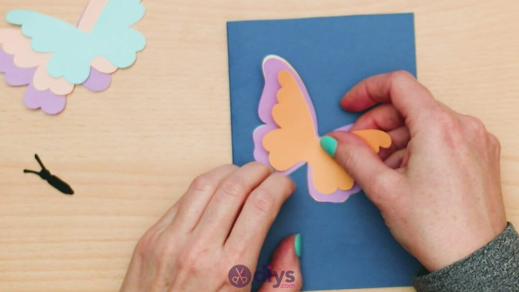 3d paper butterfly card step 7a