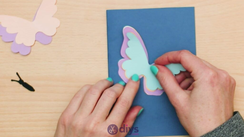 3d paper butterfly card step 7b