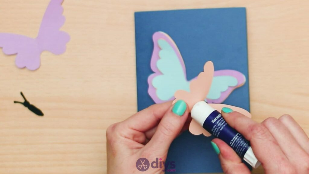 3d paper butterfly card step 7c