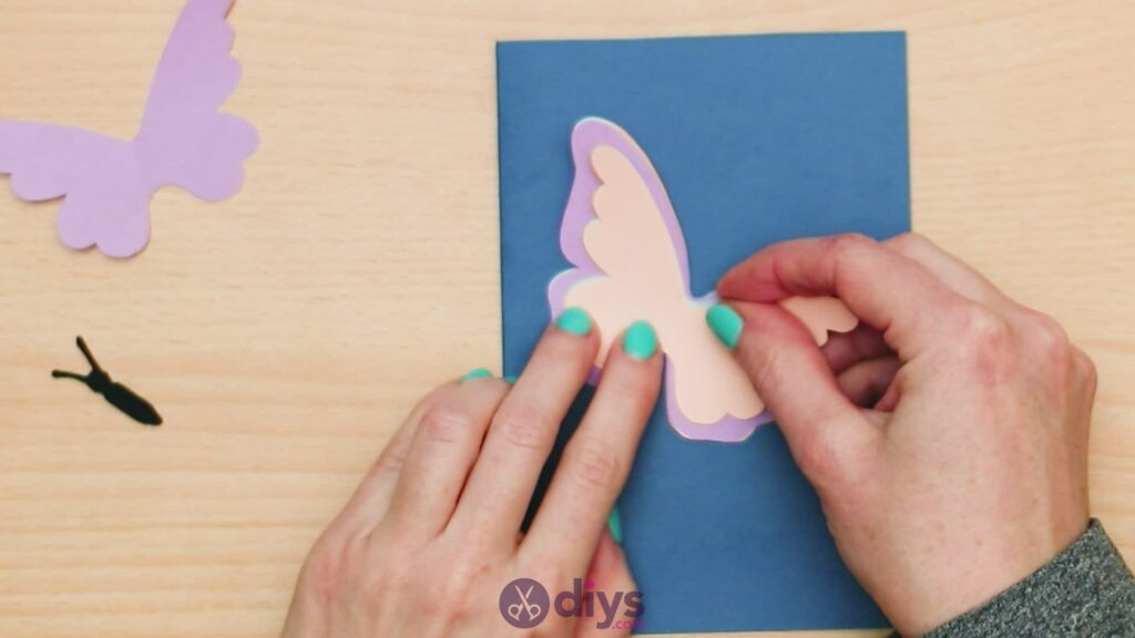 3d paper butterfly card step 7e
