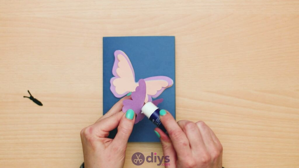 3d paper butterfly card step 7f