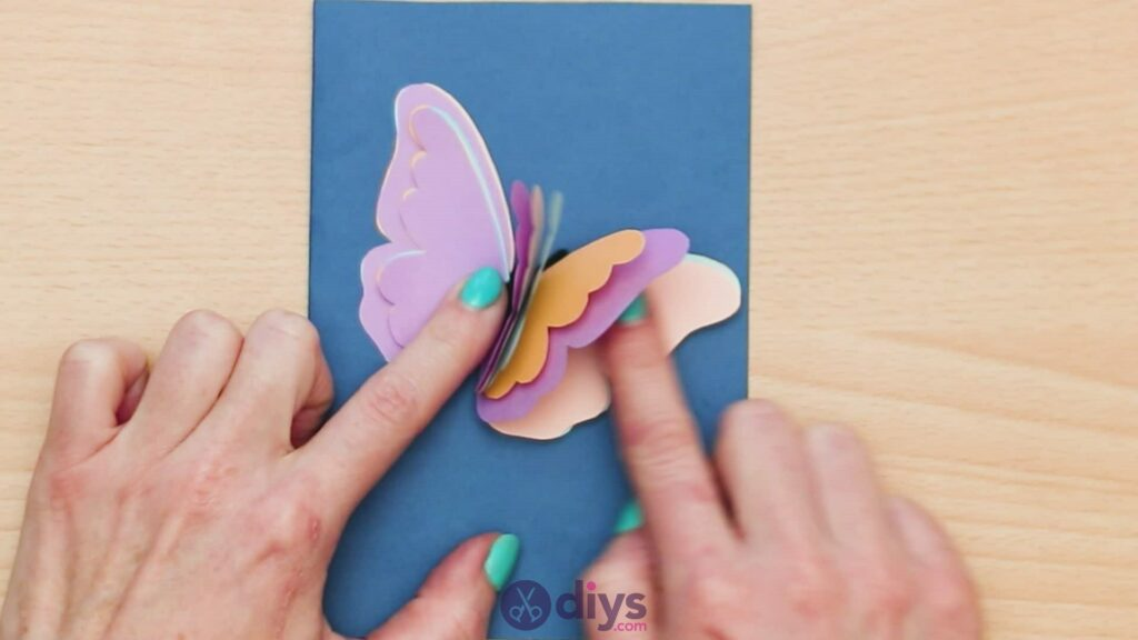 3d paper butterfly card step 9a