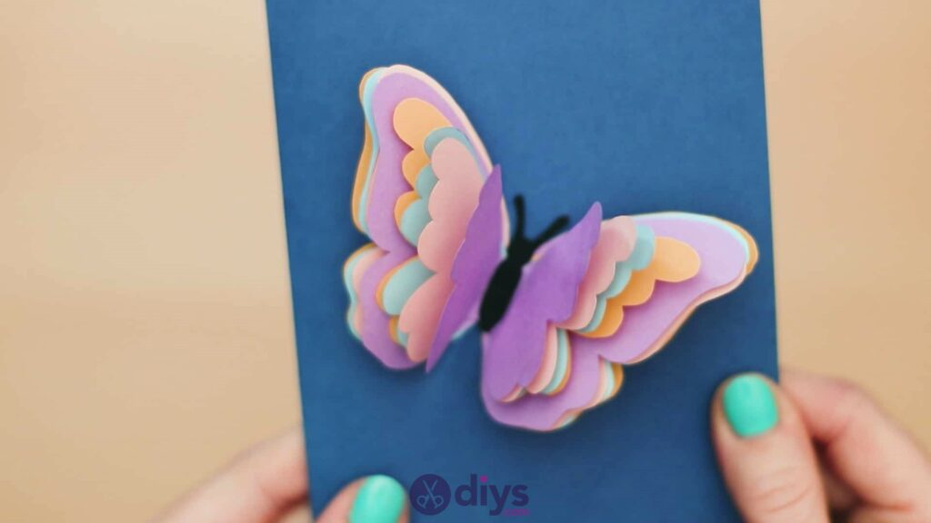 3d paper butterfly card step 9b